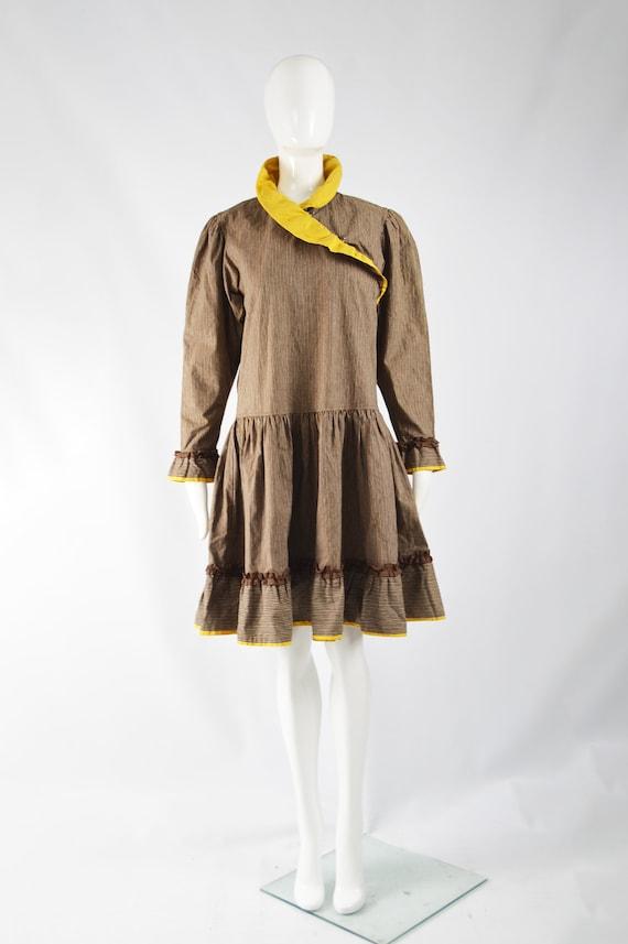 KENZO Dress Cottagecore Dress Brown Corduroy Yell… - image 2