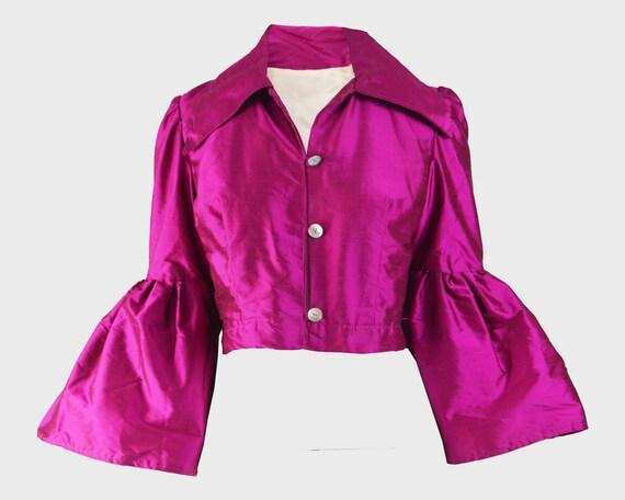 70s Bell Sleeve Jacket Fuchsia Pink Silk Blouse Fl