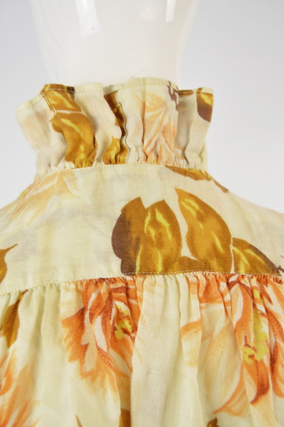 80s KENZO Shirt Frilly Blouse Floral Shirt Woman … - image 7