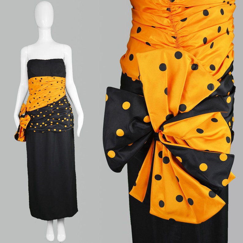 9ff4d9e410 Vintage 80s NINA RICCI Dress Black Linen Dress Orange Taffeta