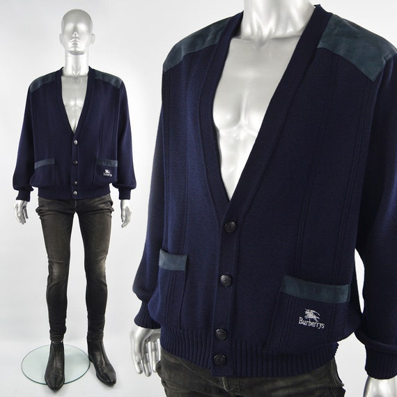 BURBERRY Cardigan Burberrys Sweater Men Navy Blue