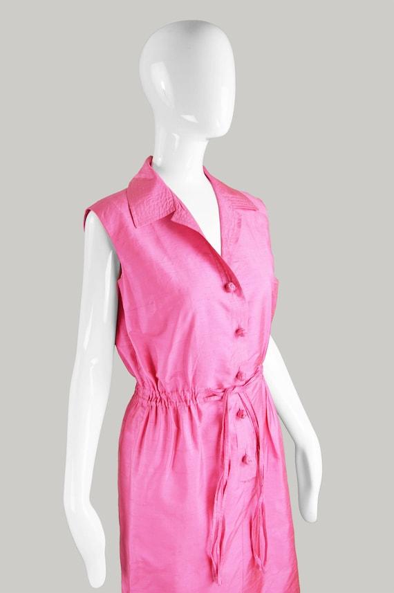 Day Dress Shirtdress Sleeveless Designer Dress Tea Party 1960s Silk Summer Evening Vintage 60s Bright Dress Pink Dress Dress French CARVEN BzaRgwq