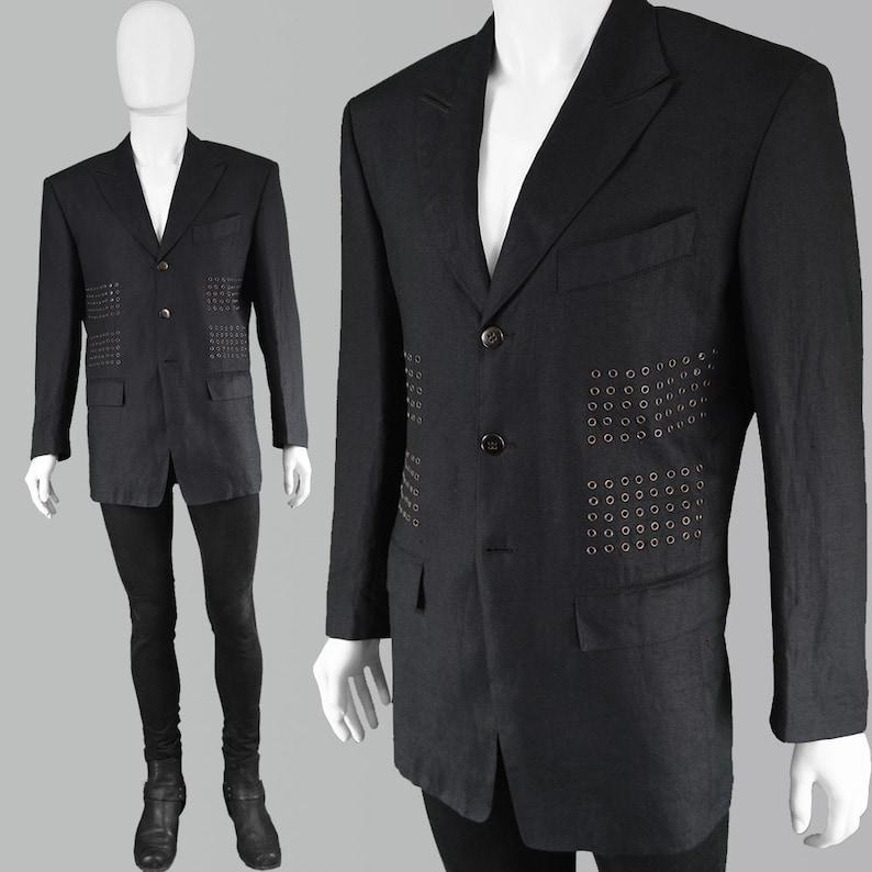 50265cc61414 Vintage anni 80 CLAUDE MONTANA Mens Lino Blazer Blazer di lino | Etsy