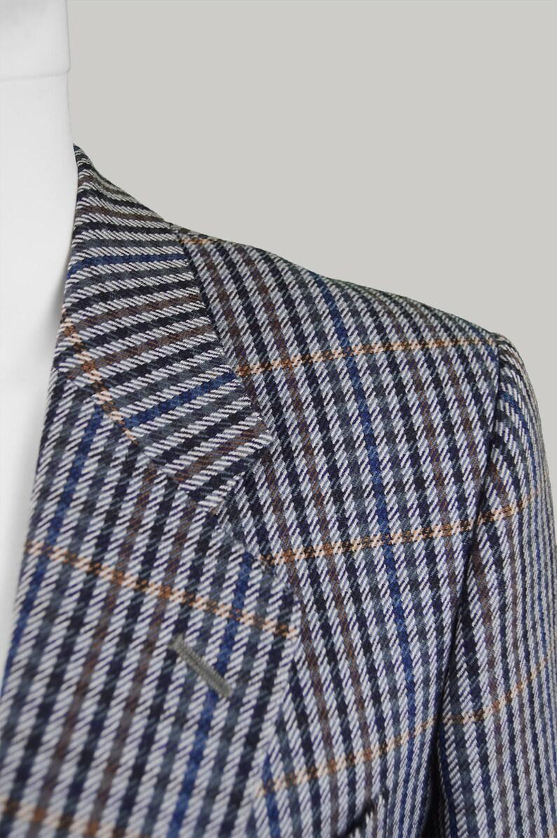 Vintage 70s 80s AQUASCUTUM Mens Sport cappotto lana Mens Blazer 38R piccolo S giorno giacca puro nuovo Giacca Tweed di lana giacca Blazer grigio Plaid