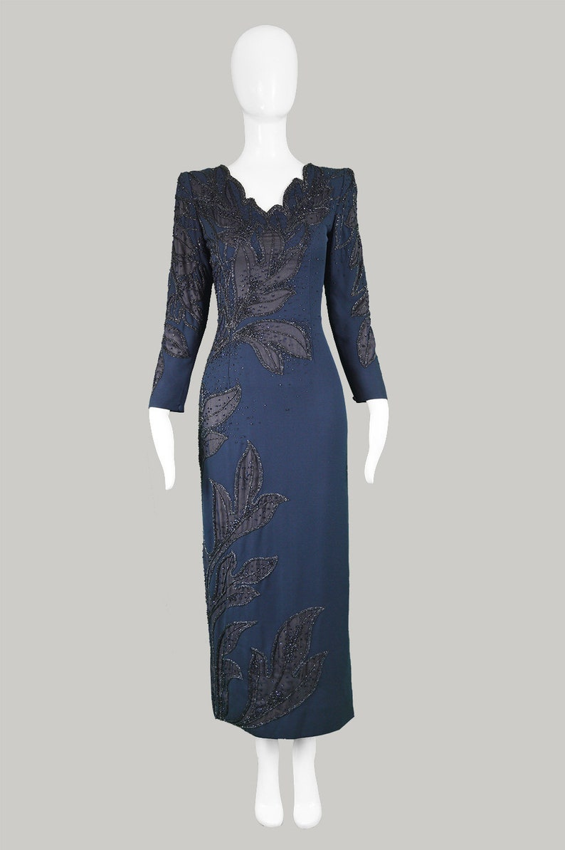 bb445b143360 Vintage 80s RENATO BALESTRA Dark Blue Dress Beaded Dress | Etsy