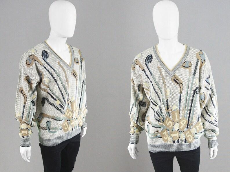 125eec1cf5bf41 Vintage 90s Golf Sweater Mens Oversize Sweater Oversized