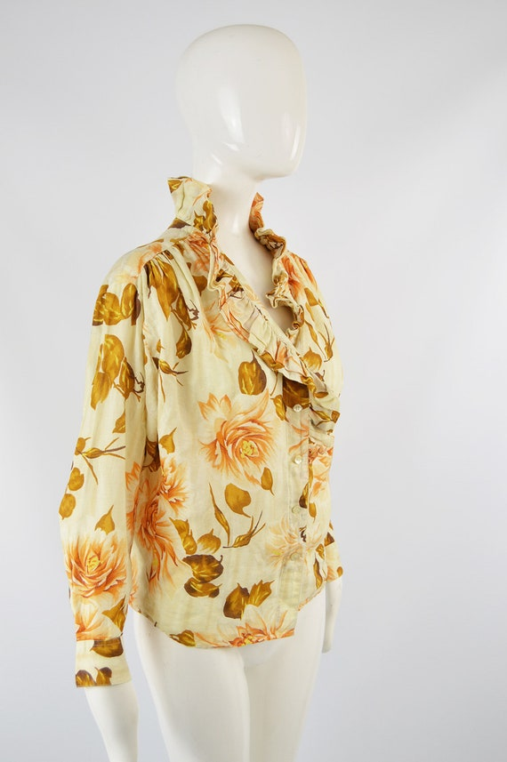 80s KENZO Shirt Frilly Blouse Floral Shirt Woman … - image 5