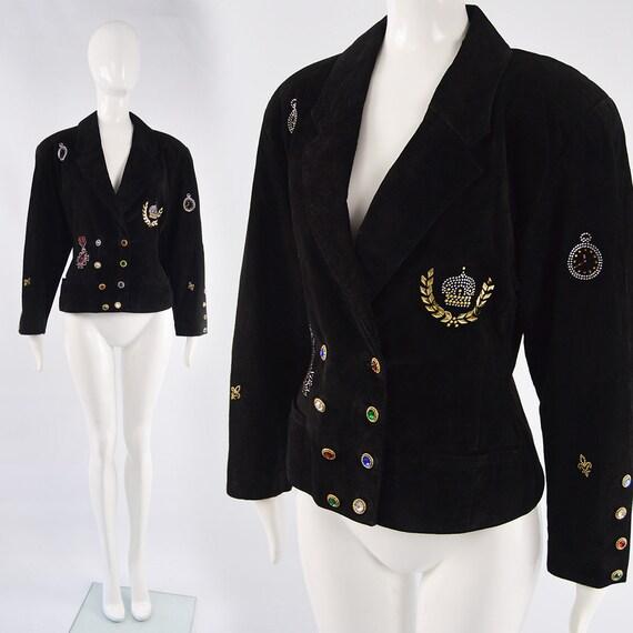 Vintage 80s Suede Jacket Womens Shoulder Pads Rhin