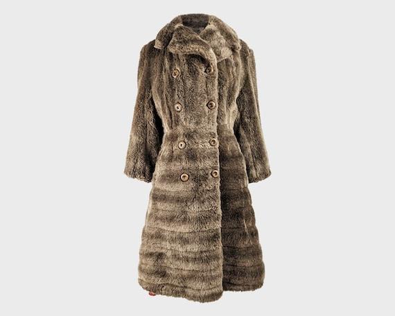 Vintage 70s Brown Faux Fur Coat Womens Winter Coat