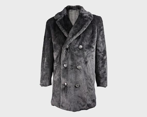 HARDY AMIES 70s Mens Faux Fur Coat Fake Fur Coat M