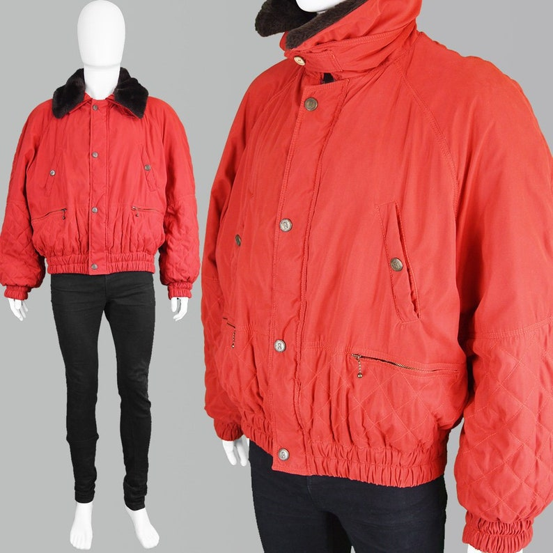 ef6ce69ac Vintage OLIVER by VALENTINO Red Bomber Jacket Men Quilted Jacket 80s Faux  Fur Collar Mens Red Coat XL Oversized Coat Hip Hop Jacket Italy