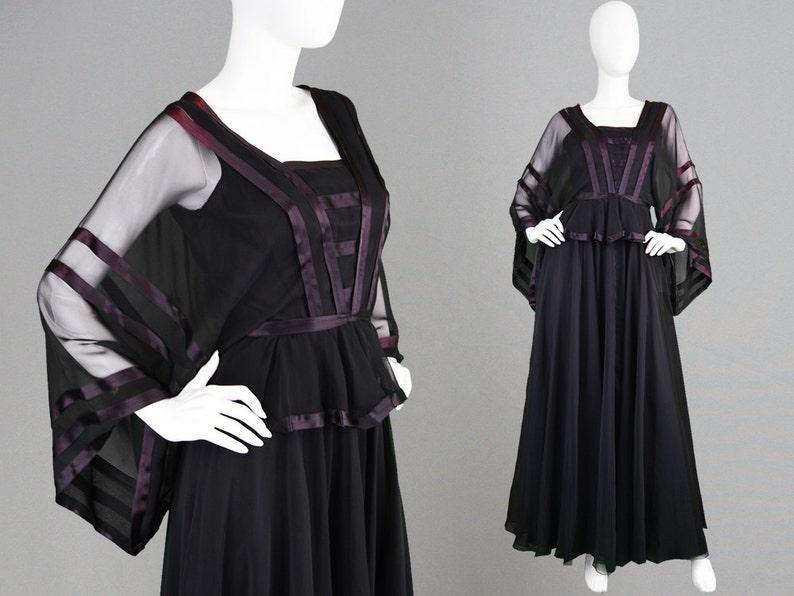e74d79fa18f Vintage JEAN VARON 70s Evening Gown Kimono Sleeve Peplum Top