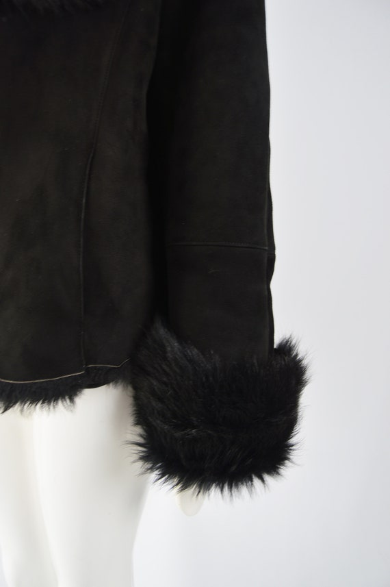 MICHAEL HOBAN Toscana Shearling Coat Black Sheeps… - image 6