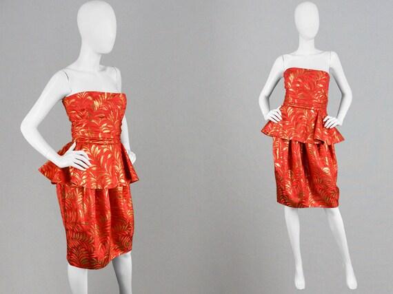 609c388a9c Vintage 80s LANVIN Cocktail Dress Strapless Party Dress Red