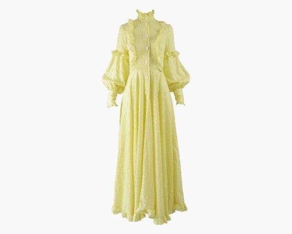 JEAN VARON 70s Boho Gown Cottagecore Dress Puffed