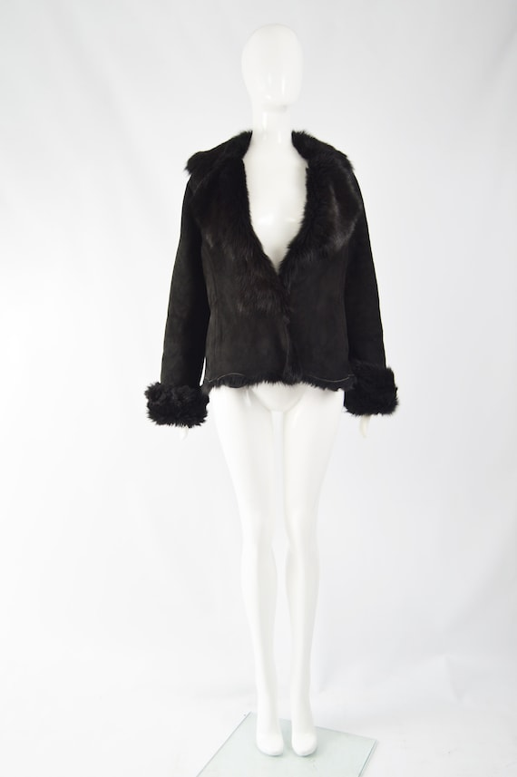 MICHAEL HOBAN Toscana Shearling Coat Black Sheeps… - image 2