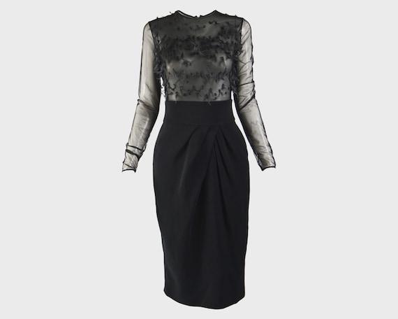 MILA SCHON Long Sleeve Sheer Party Dress Organza E