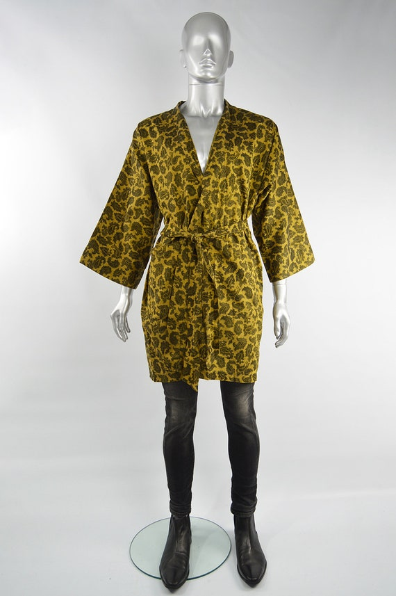 Mens Gold Paisley Print Cotton 60s Smoking Jacket… - image 2