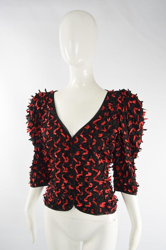 80s FRANK USHER Black & Red Statement Shirt 1980s… - image 3