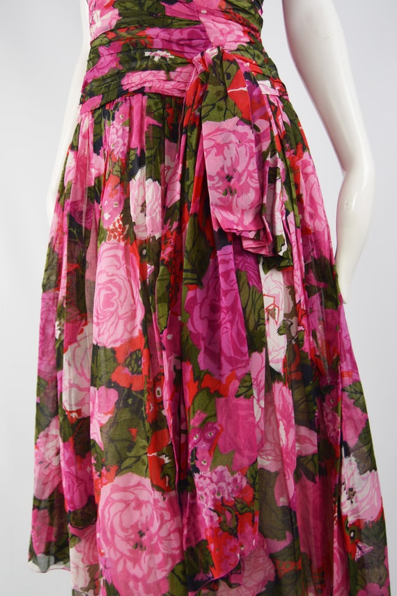 80s Does 50s Style Dress Sun Dress Pink Floral Ga… - image 5