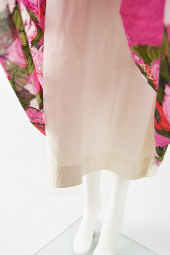 80s Does 50s Style Dress Sun Dress Pink Floral Ga… - image 6