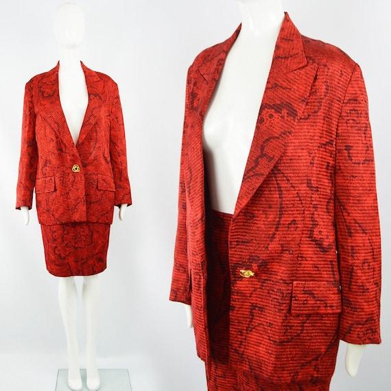 Vintage LILIANE ROMI 80s Red Silk Suit Silk Damask