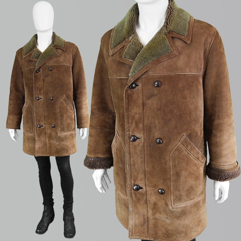 52f58ff720e6d Vintage 70s Mens Sheepskin Coat Brown Shearling Coat Men