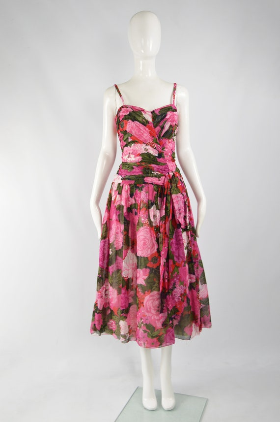 80s Does 50s Style Dress Sun Dress Pink Floral Ga… - image 2