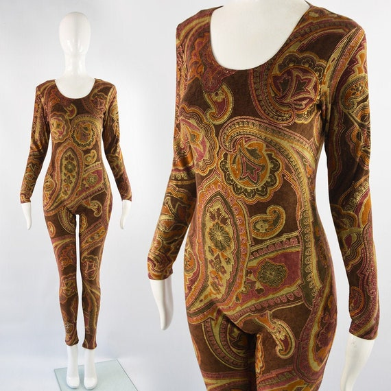 ZANDRA RHODES Paisley Print Party Catsuit Velour J
