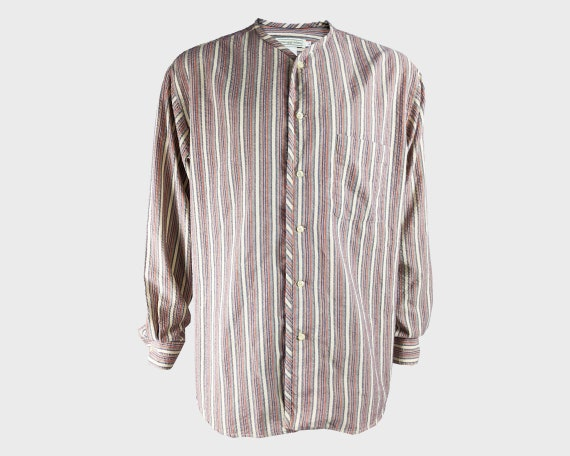 Vintage ROMEO GIGLI Striped Linen Shirt Collarless