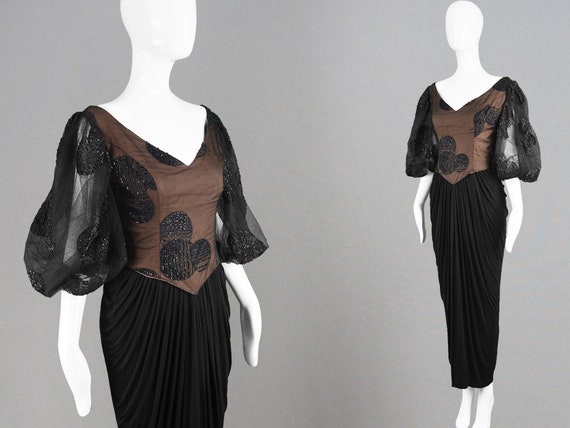 Vintage 80s RUBEN PANIS Beaded Evening Gown Draped