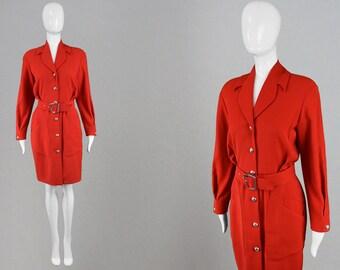 Vintage THIERRY MUGLER Dress 80s Power Dress 1980s Day Dress Long Sleeve Dress Designer Red Dress Loose Blouson Dress Secretary Dress Office