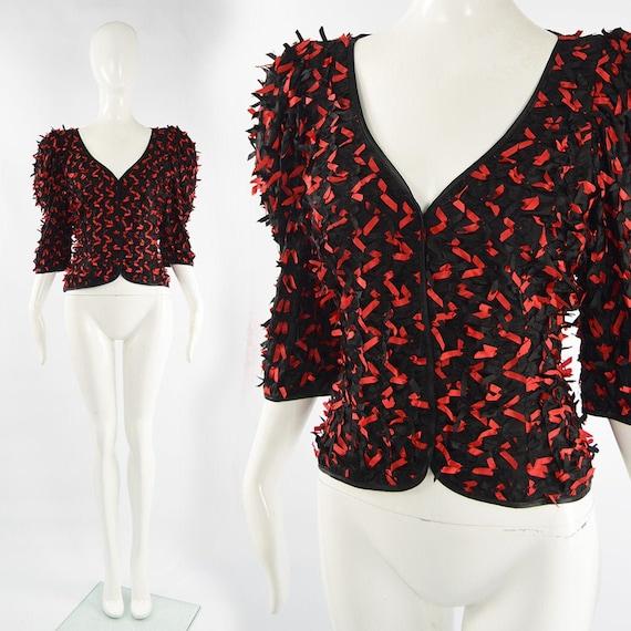 80s FRANK USHER Black & Red Statement Shirt 1980s… - image 1