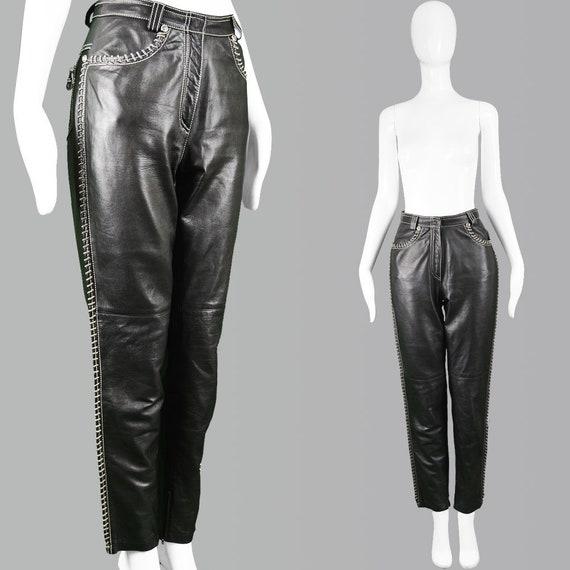 Vintage GIANNI VERSACE Women Leather Pants Silver