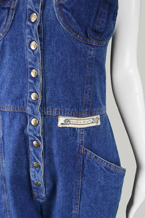 Cross Jumpsuit JEANS Jump Overalls 1970s Romper Long KRIZIA Vintage Playsuit Suit Denim Womens Denim Jumpsuit Dungarees 1990s 90s Back Blue OwXnqAE