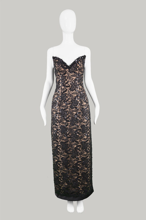 Vintage BOB MACKIE 90s Evening Gown Black Lace Dress Nude | Etsy