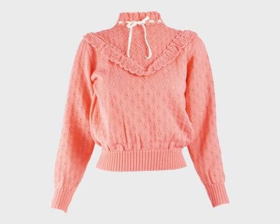 70s Pink Knit Sweater Knitwear Kawaii Lolita Velve