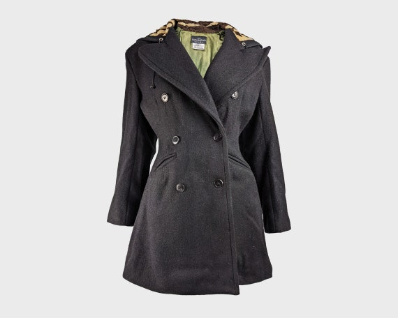 80s JOHN RICHMOND Fit & Flare Coat Black Wool Coat
