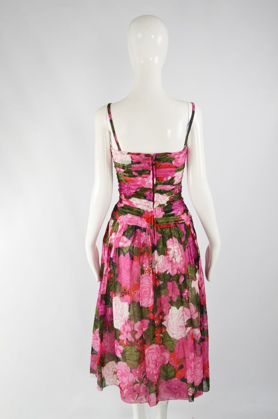 80s Does 50s Style Dress Sun Dress Pink Floral Ga… - image 8