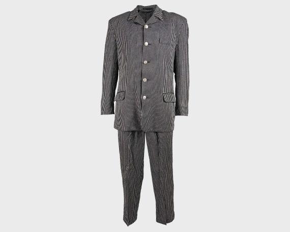 Vintage 80s Mens 3 Piece Suit Pinstripe Suit Mobst