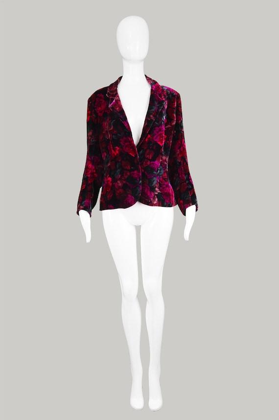 Jacket Womens Velvet Silk Jacket 1980s Print Rare Magenta Jacket 80s Vintage Jacket CELINE Evening Floral Party Jacket Designer Pink Blazer ItvEwZpq