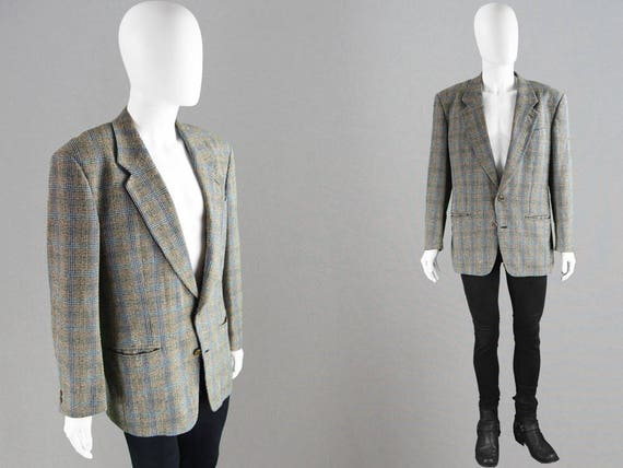 newest collection 22947 36816 Vintage 80s MISSONI UOMO Mens Wool Blazer Pastel Colored Tweed Jacket Men  Checked Blazer Houndstooth Print Prince of Wales Single Breasted