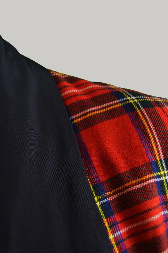 Vintage 60er Jahre Rock N Roll Jacke Tartan Wolle Jacke Mens karierten Blazer Schal Revers ungewöhnliche Smoking Rockabilly Teddyboy drapieren Jacke