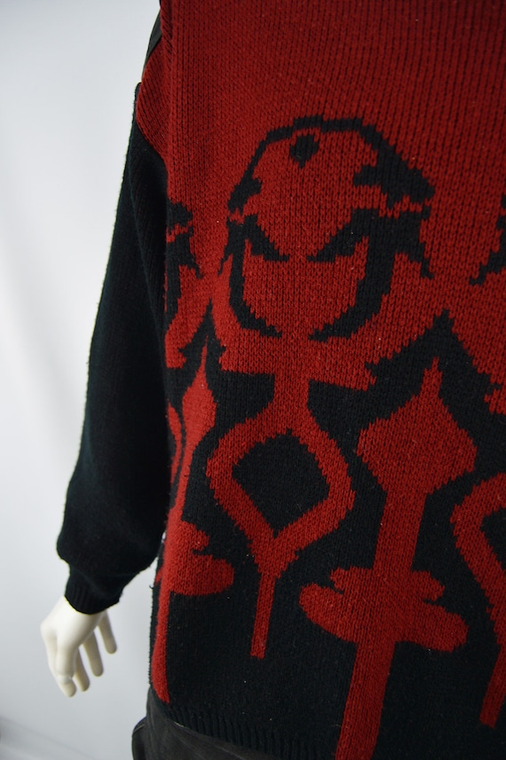 Mens 70s 80s Retro Indie Sheep Intarsia Knitted Cardigan