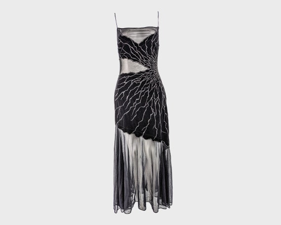 TADASHI SHOJI 90s Mesh Dress Black Velvet Gown Bea