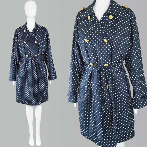 Buttons Coat Coat Spotty Dot Military Belted Coat Blue Trenchcoat Polka Dot Trench Cotton AQUASCUTUM Polka Vintage Navy 80s Coat Coat Coat qwZ00T