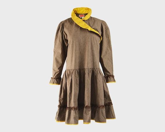 KENZO Dress Cottagecore Dress Brown Corduroy Yell… - image 1