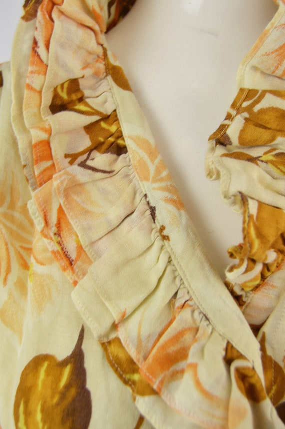 80s KENZO Shirt Frilly Blouse Floral Shirt Woman … - image 4