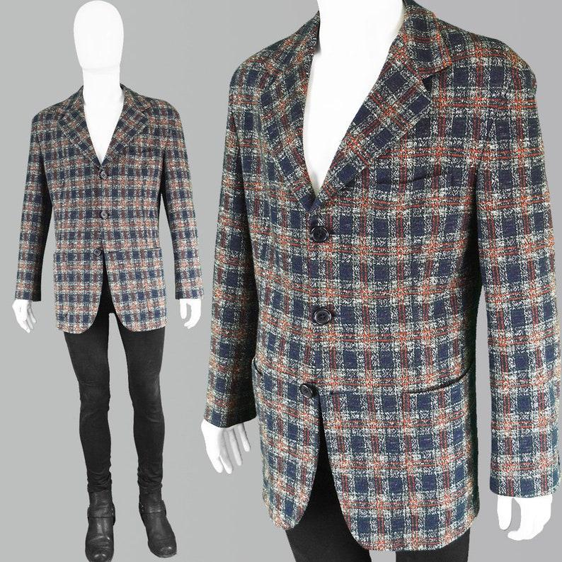 313bfa6a4f9 Vintage DOLCE   GABANNA Mens Check Jacket Men Tweed Jacket Men