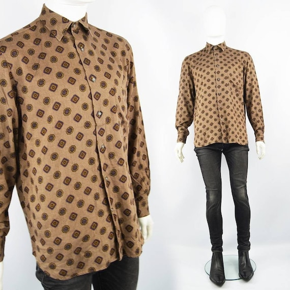 80s CACHAREL Shirt Mens Brown Shirt Mod Print Long